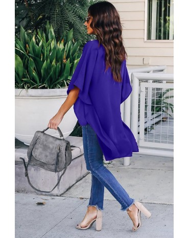 Blue Chic High Low Kimono Top