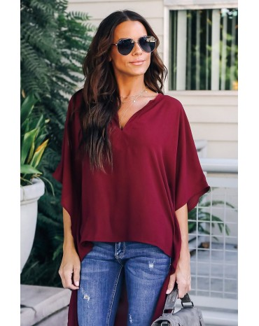 Red Chic High Low Kimono Top