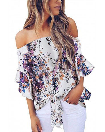Purple Off Shoulder Floral Tie Front High Low Chiffon Blouse