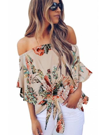 Apricot Off Shoulder Floral Tie Front High Low Chiffon Blouse