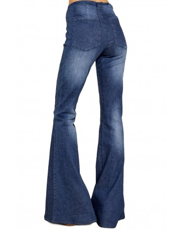 Blue Bring On The Peace Dark Denim Flare Jeans