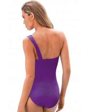 Purple Gradient Color One-shoulder Maillot