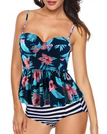 Blue 2pcs Floral Print Flounce Tankini Swimsuit