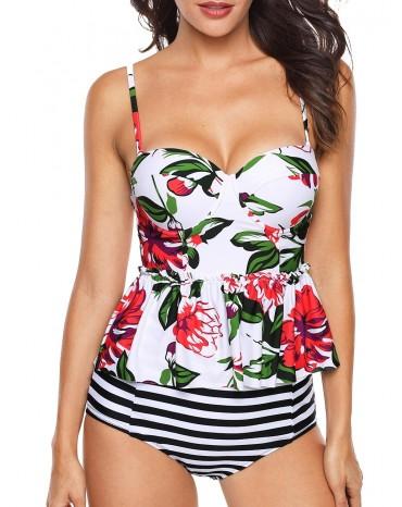 White 2pcs Floral Print Flounce Tankini Swimsuit