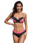 Black Pink Color Block Striped Pipping Push up Bikini