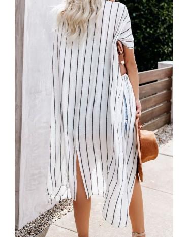 White Striped Kimono