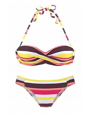 Yellow Boho Stripes Push up Bikini Set