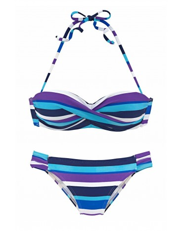 Sky Blue Boho Stripes Push up Bikini Set