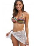 Orange Boho Stripes Push up Bikini Set