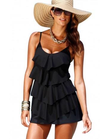 Black Multiple Layer Ruffles Swim Dress