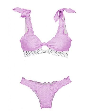 Pink Print Knot Keyhole Bikini
