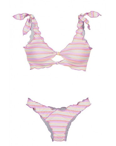 Stripe Print Knot Keyhole Bikini