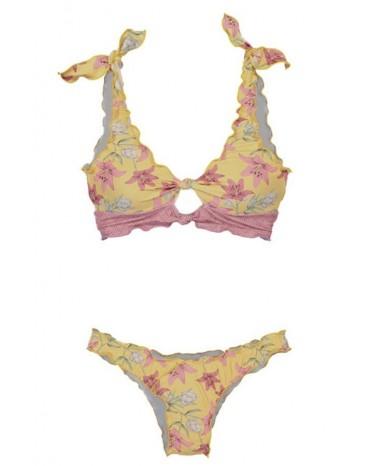 Yellow Print Knot Keyhole Bikini