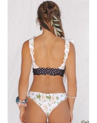 White Print Knot Keyhole Bikini