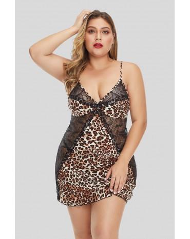 Cheetah Print Lace Hollow-out Plus Size Lingerie