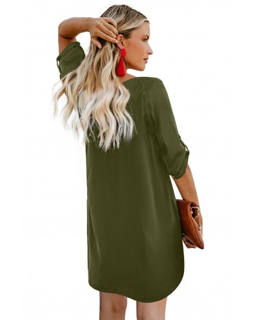 Green V Neck Button Front Roll up Tab Sleeve Dress