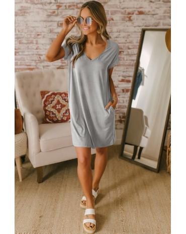 Gray V Neck Cuffed T-shirt Dress