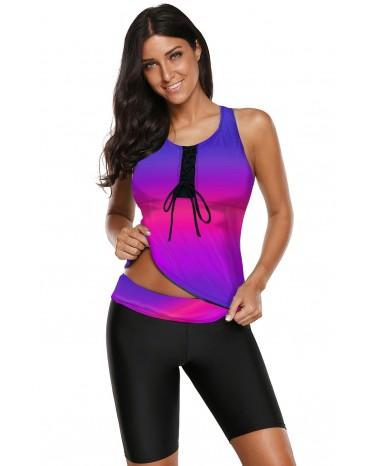 Rose Ombre Print Racerback Tankini Swimsuit