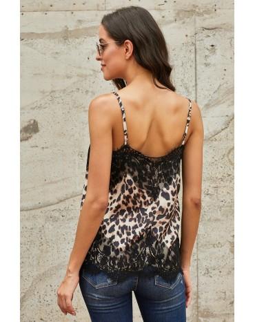 Leopard Adjustable Lace Cami Tank