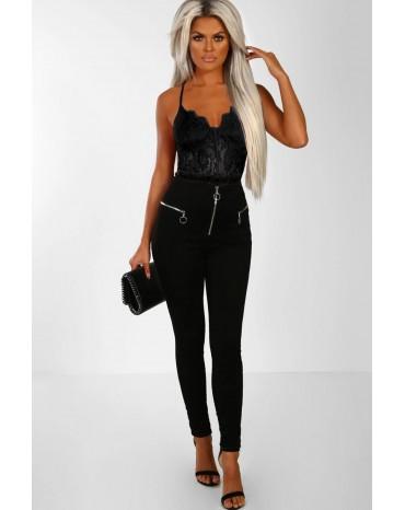 Black Lace Panelled Bodysuit