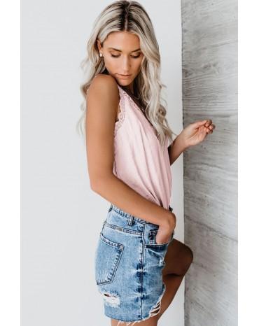 Pink V Neck Lace Scalloped Trim Vest