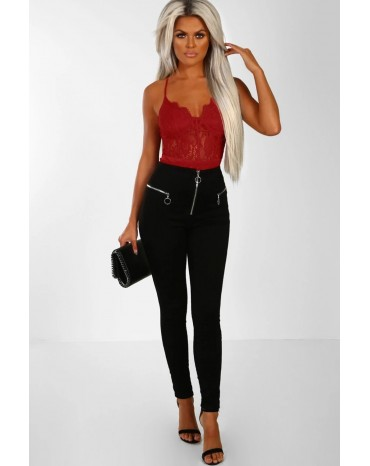 Red Lace Panelled Bodysuit