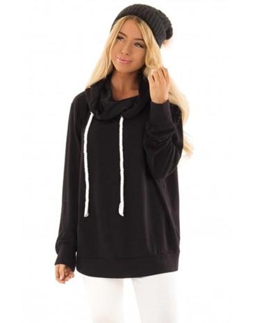 Black Long Sleeve Hoodie with Rope Drawstring