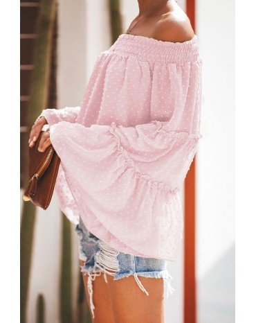 Pink Swiss Dot Off The Shoulder Top