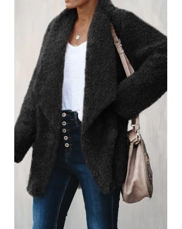 Black Pocketed Sherpa Jacket