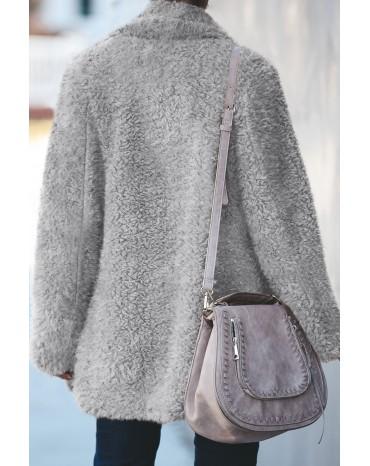 Gray Pocketed Sherpa Jacket