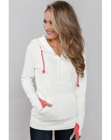 White Half-zip Quilted Ampersand Hoodie