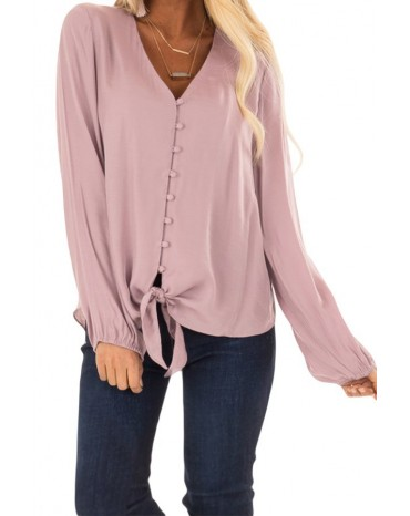 Pink Button up Long Sleeves Top with Front Tie