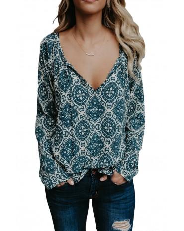 Blue Long Sleeve V Neck Printed Chiffon Blouse