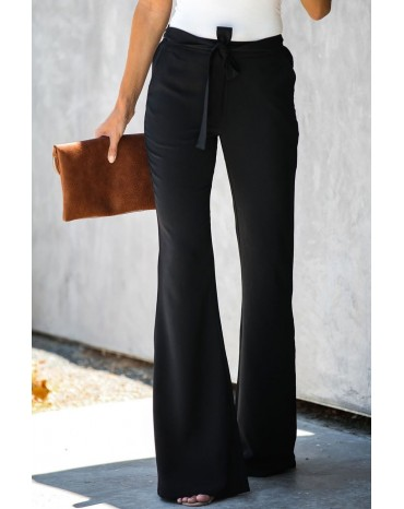 Black Dress to Impress Pocketed Flared Tie Pants