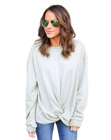 Gray Knot Twist Front Long Sleeve Casual Pullover Sweatshirt