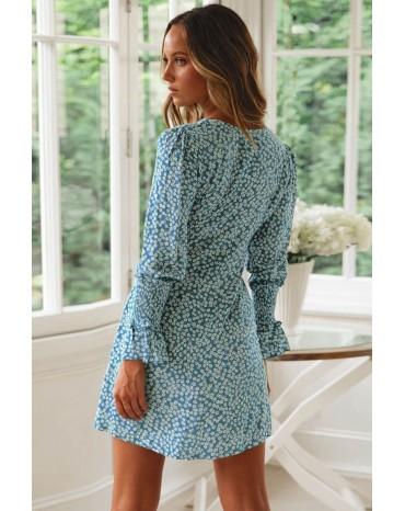 Sky Blue V Neck Floral Print Boho Ruffled Sleeve Dress