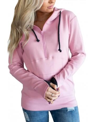 Pink Half-zip Quilted Ampersand Hoodie
