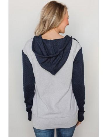 Multicolor Half-zip Quilted Ampersand Hoodie