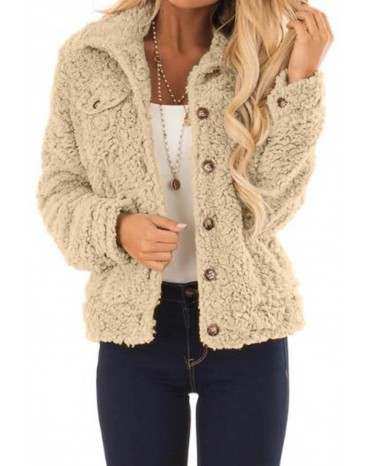 Khaki Sherpa Button Up Long Sleeve Jacket