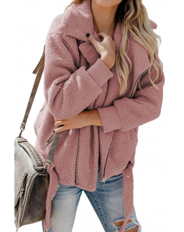 Pink Niagara Falls Pocketed Sherpa Jacket
