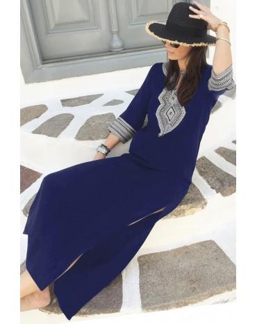 Blue Casual Crochet Embroidered Slit Summer Dress