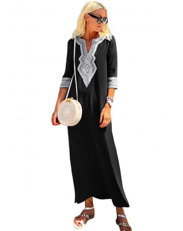 Black Casual Crochet Embroidered Slit Summer Dress