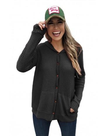 Black Open Front Pocket Button Down Knit Cardigan Coat