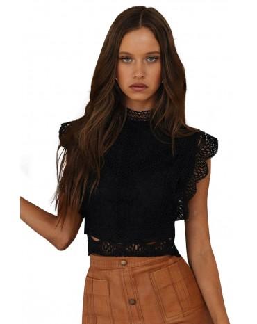 Black High Collar Vintage Lace Vest