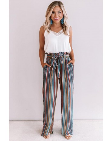 Sky Blue Sweet Skyline Views Stripe Pants