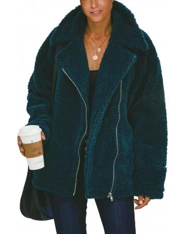 Green Breaker Pocketed Sherpa Statement Jacket