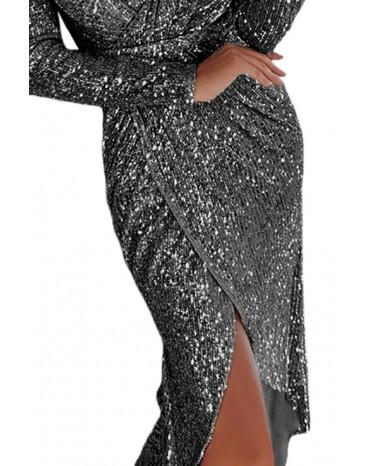 Black Sequins Wrapped Ruched Irregular Dresses