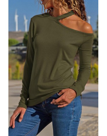 Green Cotton-Blend Long Sleeve Halter Cutout Blouse