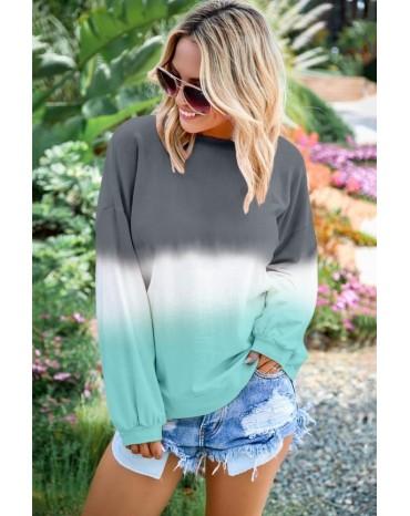 Gray Color Block Tie Dye Pullover Sweatshirt