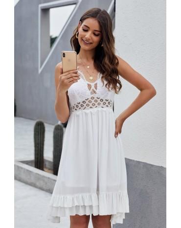 White Crochet Lace Ruffle Dress